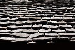光和阴影在木屋顶木瓦 免版税库存照片
