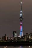 ' 光和darkness&#x22争斗;东京Skytree点灯和东京铁塔 图库摄影