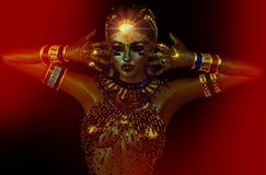 光在夜内 埃及神秘主义者,观看者,幻想艺术 免版税库存照片