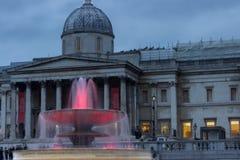 光在特拉法加广场,威斯敏斯特,伦敦,黄昏的英国在其中一个照亮水喷泉中 免版税库存图片
