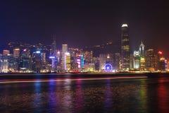 光在香港,旅游业,板,维多利亚,海湾, colotful,光展示,风景,大厦,尖沙咀交响乐  免版税库存照片