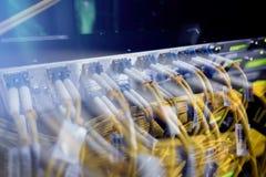 光学服务器 换向器 闪光灯 光学的纤维 茄子 切断在机架的计算机在大数据中心 特写镜头, 免版税库存照片