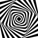 光学的幻觉 幻觉艺术 摘要扭转的黑白背景 也corel凹道例证向量 免版税库存照片