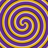 光学行动幻觉背景 紫色黄色双重螺旋表面 向量例证