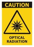 光学辐射危害小心安全危险警告文本标志贴纸标签,人造光射线象标志,被隔绝的黑色 库存例证