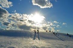 光彩的冬天在南缅因 免版税库存图片