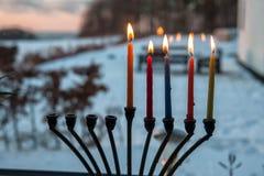 光明节与蜡烛的menorah chanukkiah