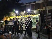 光明节menorah在Khao圣路,曼谷设置了 图库摄影