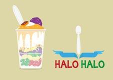 光晕光晕宽松地意味混合物是一个普遍的冰冷的点心在有为可口甜点混合的很多成份的菲律宾 库存例证