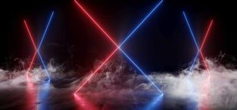光滑烟真正霓虹激光发光的紫色蓝色充满活力的展示夜黑暗的空的难看的东西具体形状的光明亮的反射 皇族释放例证