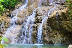 光滑的岩石的流动的瀑布与绿色叶子 免版税库存图片