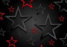 光滑的红色和黑发光的星背景 免版税库存图片