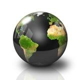 光滑黑色地球的地球 免版税图库摄影