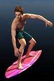 光的前面的冲浪者人 免版税图库摄影