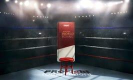 光的职业拳击竞技场与椅子3d翻译 免版税库存图片