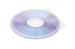 光盘和盖子在白色背景与裁减路线 库存图片