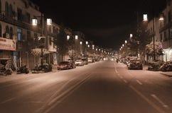 光福镇夜街道 图库摄影