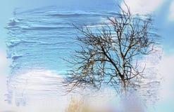 光秃的分支的梦想和抽象图象在森林的,反对天空 与水彩刷子冲程tex的两次曝光作用 图库摄影