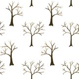 光秃的树剪影样式隔绝了 冬天明信片的摘要水彩手拉的样式例证,包裹, 库存例证