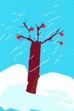 光秃的橡树在多雪的冬日 免版税库存照片