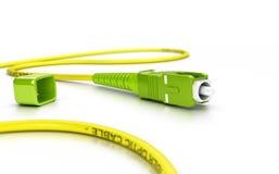 光纤在白色的插接线 免版税库存照片