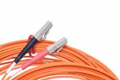 光纤patchcords LC 免版税库存照片