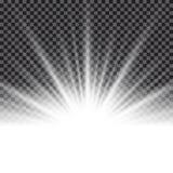 光线影响旭日形首饰或光束在透明背景 皇族释放例证