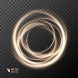 光线影响线金子传染媒介圈子 发光的轻的火圆环踪影 闪烁不可思议的闪闪发光漩涡足迹作用 库存图片