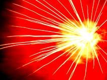 光芒四射的爆炸,烟花 免版税库存图片