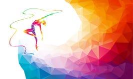 光谱颜色体操女孩剪影有丝带的 库存照片