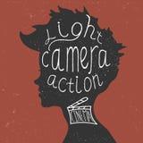 光,照相机,行动!在上写字 皇族释放例证