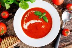 光滑和甜蕃茄汤,晒干用蓬蒿,大蒜 图库摄影
