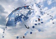 光致电压的太阳伞 免版税库存照片