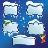 光滑的冬天框架的汇集与随风飘飞的雪的 免版税库存照片