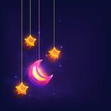 光滑的月亮和星伊斯兰教的节日庆祝的 免版税图库摄影