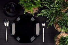 黑光滑的板材,匙子,叉子,毗邻绿色植物作为典雅的minimalistic菜单的,顶视图eco友好的大模型 库存图片
