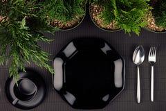 黑光滑的板材,匙子,叉子,毗邻绿色植物当eco友好的嘲笑为菜单餐馆,顶视图 库存照片