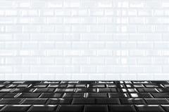 光滑的白色陶瓷砖瓦片墙壁和黑砖地 免版税库存图片