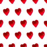 光滑的红色心脏无缝的样式背景 免版税库存图片