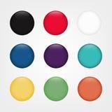 光滑的网圆的按钮用不同的颜色 徽章空白例证模板向量 免版税库存照片
