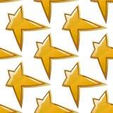 光滑的金黄星无缝的样式 库存图片