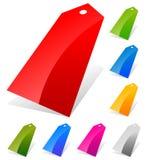 光滑的价牌,在更多颜色的标签与空的空间trans 库存照片