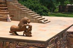 克久拉霍寺庙和他们的色情雕塑,印度 免版税库存照片