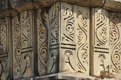 克久拉霍寺庙,在纪念碑的雕塑刻画的Kamasutra图象 库存照片