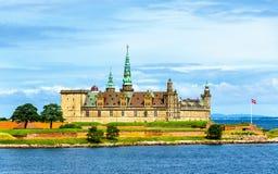 克伦堡城堡看法从厄勒海峡海峡-丹麦的 免版税库存图片