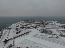 克伦堡城堡,赫尔新哥,丹麦冬天 免版税库存照片