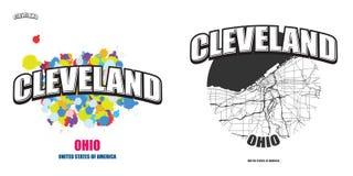 克利夫兰,俄亥俄,两件商标艺术品 库存图片
