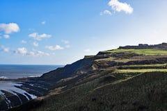 克利夫兰Ravenscar峭壁和海滩方式视图  免版税库存图片