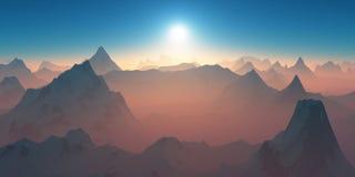 克利特希腊山日落 图库摄影
