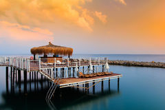 克利特希腊海岛地中海日落 库存图片
